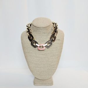 Ann Taylor Chunky Wood Tone Red Chain Necklace
